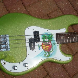 Rat Fink Guitar Bass from Naked Body Guitars painted with Limetreuse metal flake.