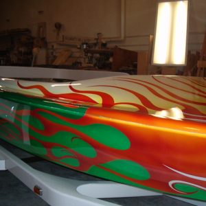 Jet Boat Painted with multiple pearl pigments.
