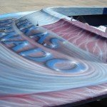 Silver Satin Illusion Pearls all over a Jet boat.