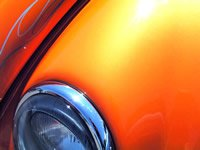 This 25 gram Bright Orange kandy Pearl powder is a great pigment for creating your very own Orange pearl tinted clears in both kustom paint or powder-coating applications. It is guaranteed to mix well with any clear paints or tinted kandy paints, and has a temperature threshold of about 400 degrees fahrenheit. It is a very fine powder and will spray well through airbrushes, powder guns, and HVLP paint guns. It is very light, so it stays well mixed in paint without settling too fast in your gun, and can make great tinted clears for light to heavy effects (it's your choice). One 25 gram bag treats from 1 to 2 quarts of clear. Hint: Use under our Gold Ghost Pearl for an effect like Lamborghini Orange.