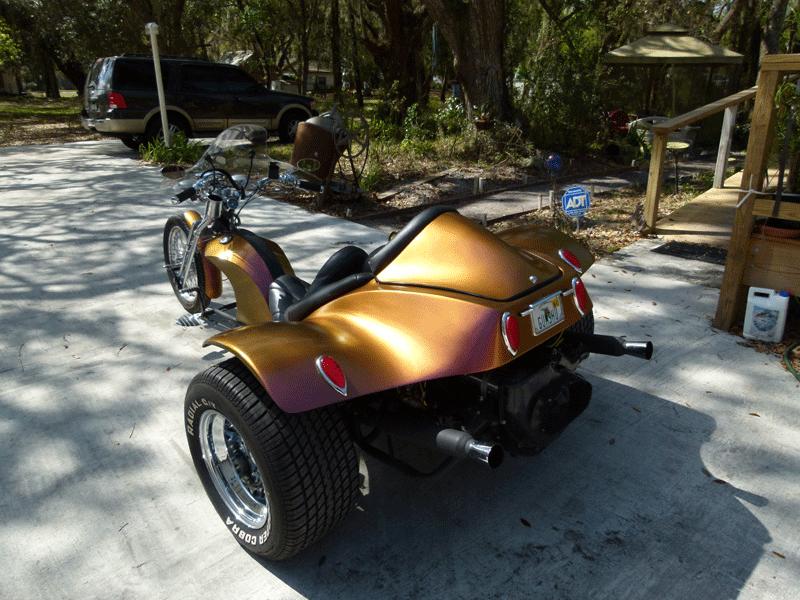 Kolorshift Pearls 4739OR. Orange Gold Red sprayed on a Trike.