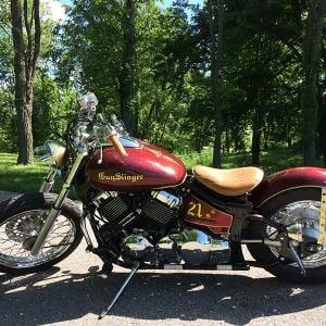 Gunslinger Bike with Gold Flake kustom paint.
