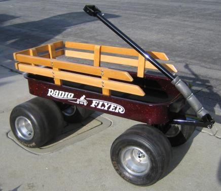 Apple Red metal Flake on kustom Radio Flyer wagon from a user testimonial.