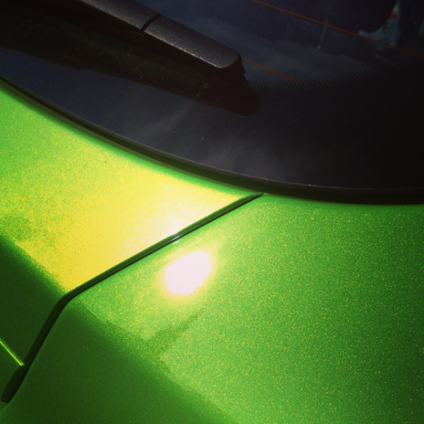 Our Extra Flashy Shimmer Gold Pearl paint powder over Lime Green kandy.
