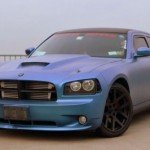 Chameleon Dodge Charger with matte finish Blue to Purple Kolorshift Pearls pigment on it.