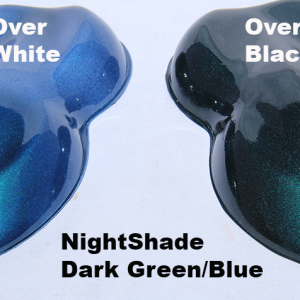 Nightshade Green-Blue kandy Paint Pearl over White and over Black