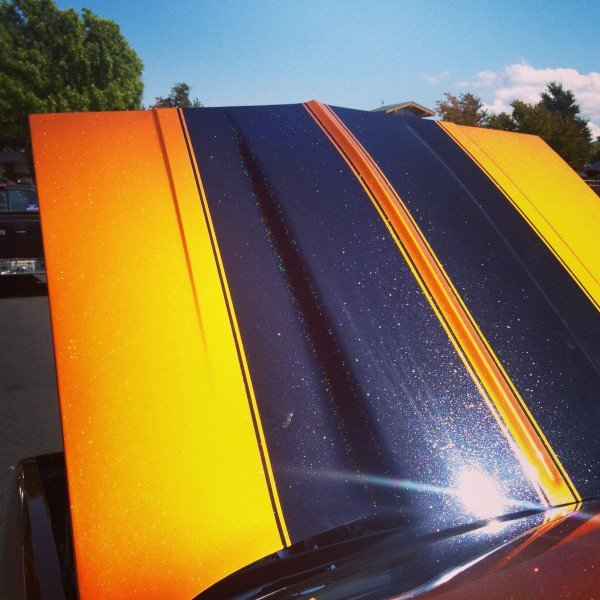 Hot Rod painted with Gold Shimmer Ghost Pearl over Shimmert Orange Copper kandy Pearl.