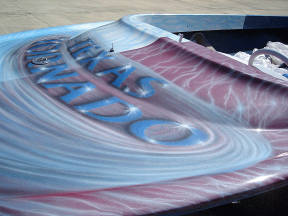 Jet boat airbrushed with Red Wine kandy, Electric Blue, Silver Platinum Illusion Pearls.