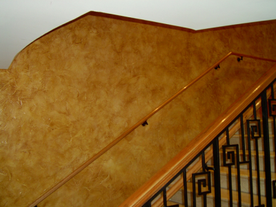 Bronze Copper Kolor Pearls over tan base latex used in Faux Finish Glaze.