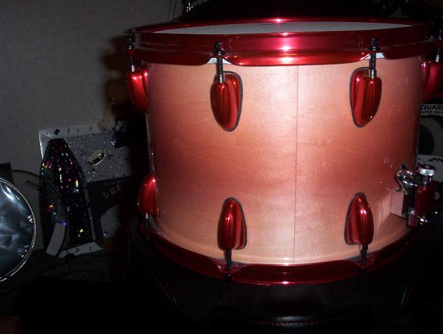 Rose Red Kolor Pearls on Drum Set by DMR Drums.