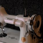 Singer Sewing machine with violet paint ghost pearl