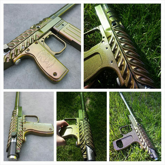 Paintball gun with 4739CS Gold Green Bronze Kolorshift Pearls powder coated on the surface.