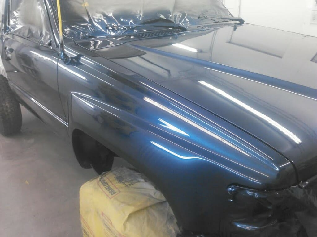 Blue Crystal Pearl on Truck from a few feet away. Prepping your existing paint is important when you are learning how to kustom paint.
