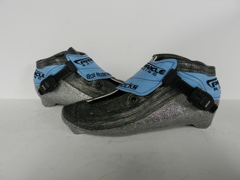 inline speed skating boots with silver metal flake