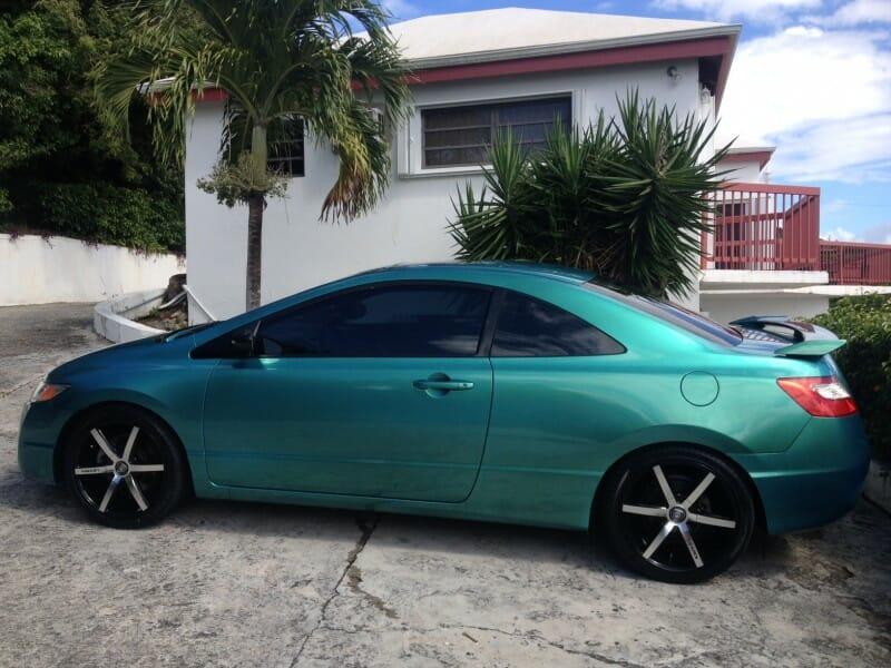blue green flip pigment for cars