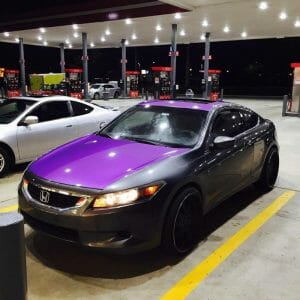 Purple kandy Metallic Paint Pigments on car hood.