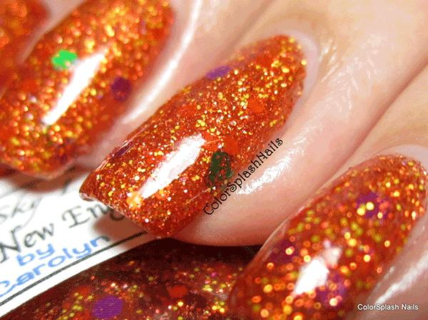 Orange Nails with Holographic flakes by Colorsplash kustom nail polish color