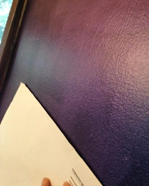 """Chameleon Faux Finish wall from the """"Purple Angle""""."""