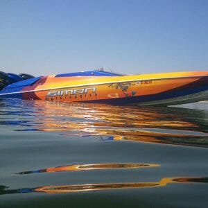 Gold Ghost and Other Pearls on kustom Painted Racing Boat.